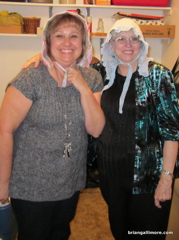 Roxanne and Glenda modeling the bonnets