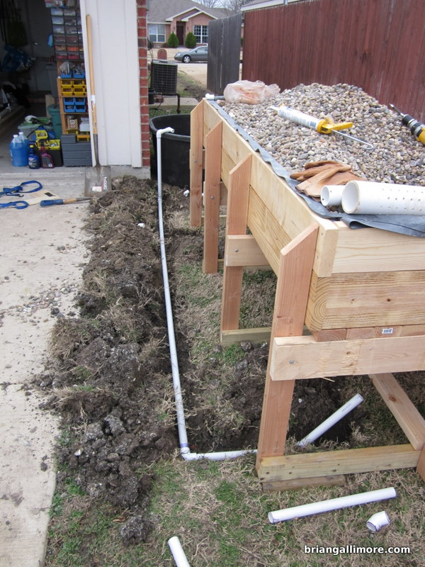 Trench to locate pipes underground